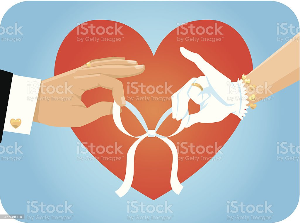 Hands Heart Bow C royalty-free stock vector art