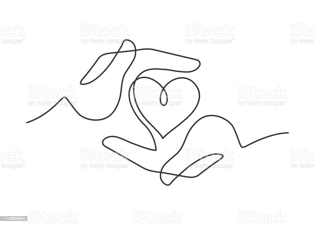 hands heart one line royalty-free hands heart one line stock illustration - download image now