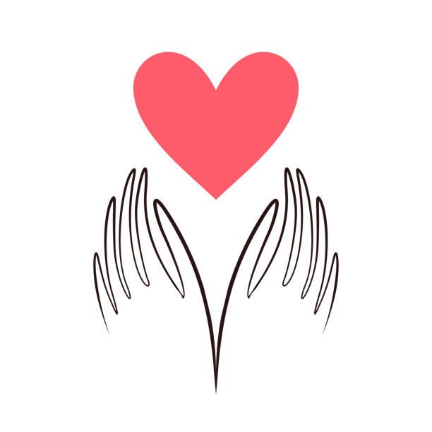 stockillustraties, clipart, cartoons en iconen met handen hart vorm vector. liefde, gezondheid, vrijwillige, zorgzame hand-logo. hart in handje platte vector, non-profit stichting. - non profit