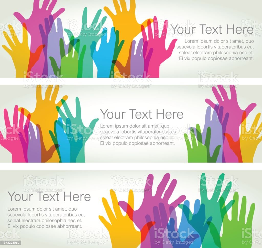 Hands Held High - Horizontal Banners vector art illustration