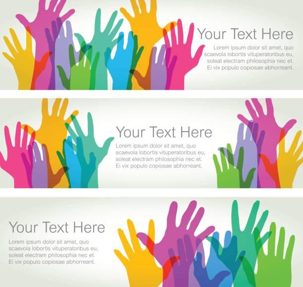 ilustraciones, imágenes clip art, dibujos animados e iconos de stock de manos en alto - banners horizontales - reunión evento social