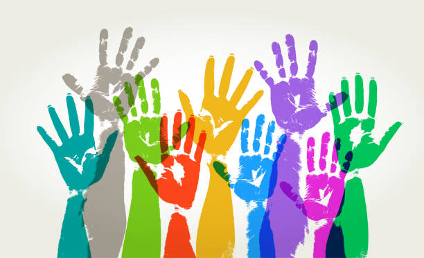 Hands Held High Colourful overlapping silhouettes of hands raised in print style democracy stock illustrations