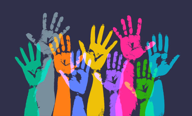 Hands Held High Colourful overlapping silhouettes of hands raised in print style community patterns stock illustrations