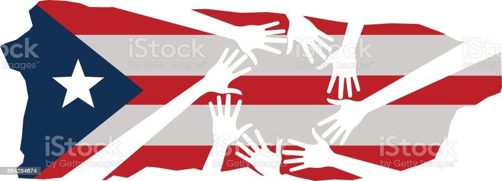 Hands Helping Puerto Rico Vector Illustration vector art illustration