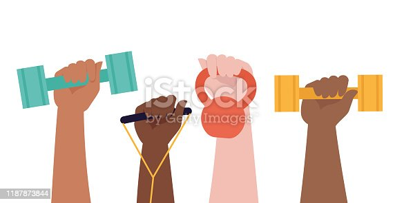 istock Hands hold dumbbells on white background and Healthy Lifestyle title. Sport revolution concept. Vector colorful illustration in flat design. 1187873844