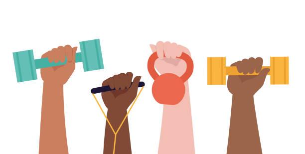 ilustrações, clipart, desenhos animados e ícones de as mãos prendem dumbbells no fundo branco e no título saudável do estilo de vida. conceito da volta do esporte. ilustração colorida do vetor no projeto liso. - comodidades para lazer