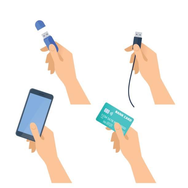 Hands hold flash drive, mobile phone, usb plug, credit card. vector art illustration