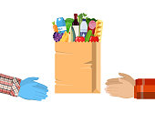 Safe contactless delivery of goods to buyer. Hands hold paper shopping bag full of groceries products with rubber gloves. Courier gives food package to client. Vector illustration in flat style