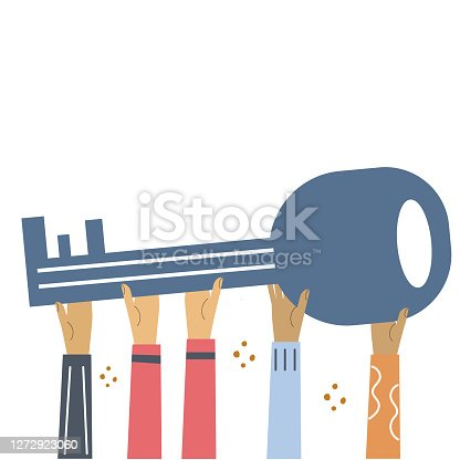 Hands hold large key. Flat illustration for banner, web design.