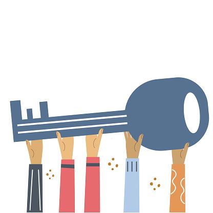 Hands hold large key. Flat illustration for banner, web design.