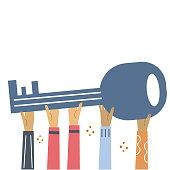 istock Hands hold large key. Flat illustration for banner, web design. 1272923060