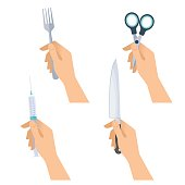 Human hands hold metal fork, steel knife, medical syringe, office stainless scissors. Flat illustration of male and female hands with various sharp and cutting objects. Vector design isolated elements