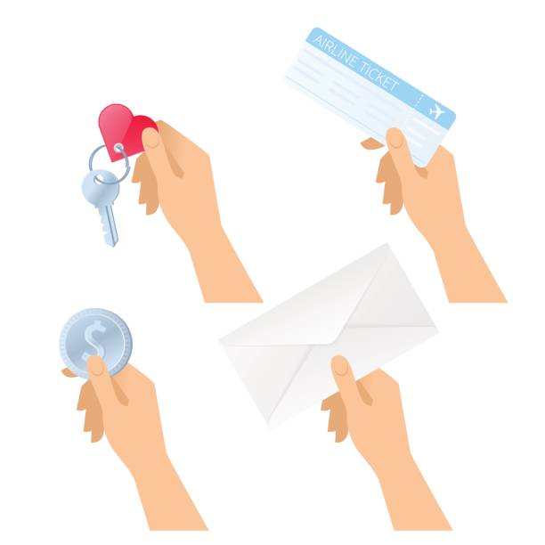 Hands hold plane ticket, paper envelope, dollar coin, room key. vector art illustration
