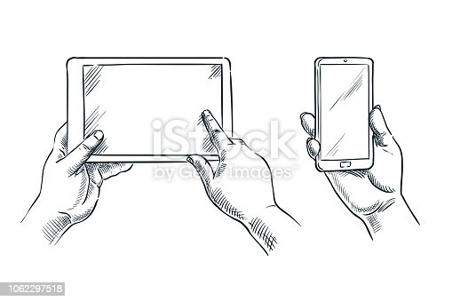 Human hands hold smartphone and tablet, vector sketch illustration isolated on white background. Mobile phone empty white screen. Business communications concept.
