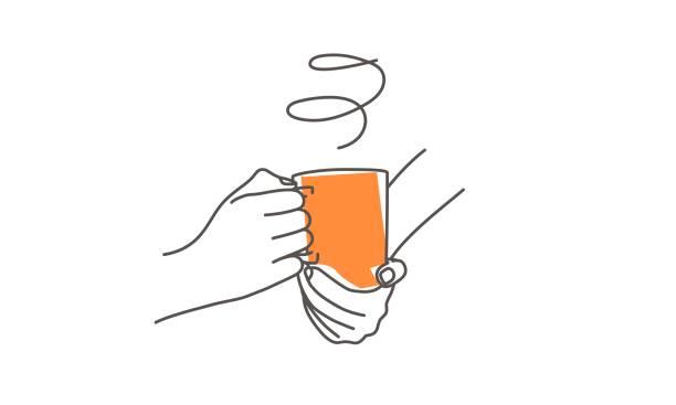 ilustrações de stock, clip art, desenhos animados e ícones de hands holding a cup of coffee. - pausa para café