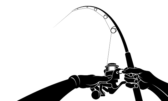 Hands holding a fishing rod