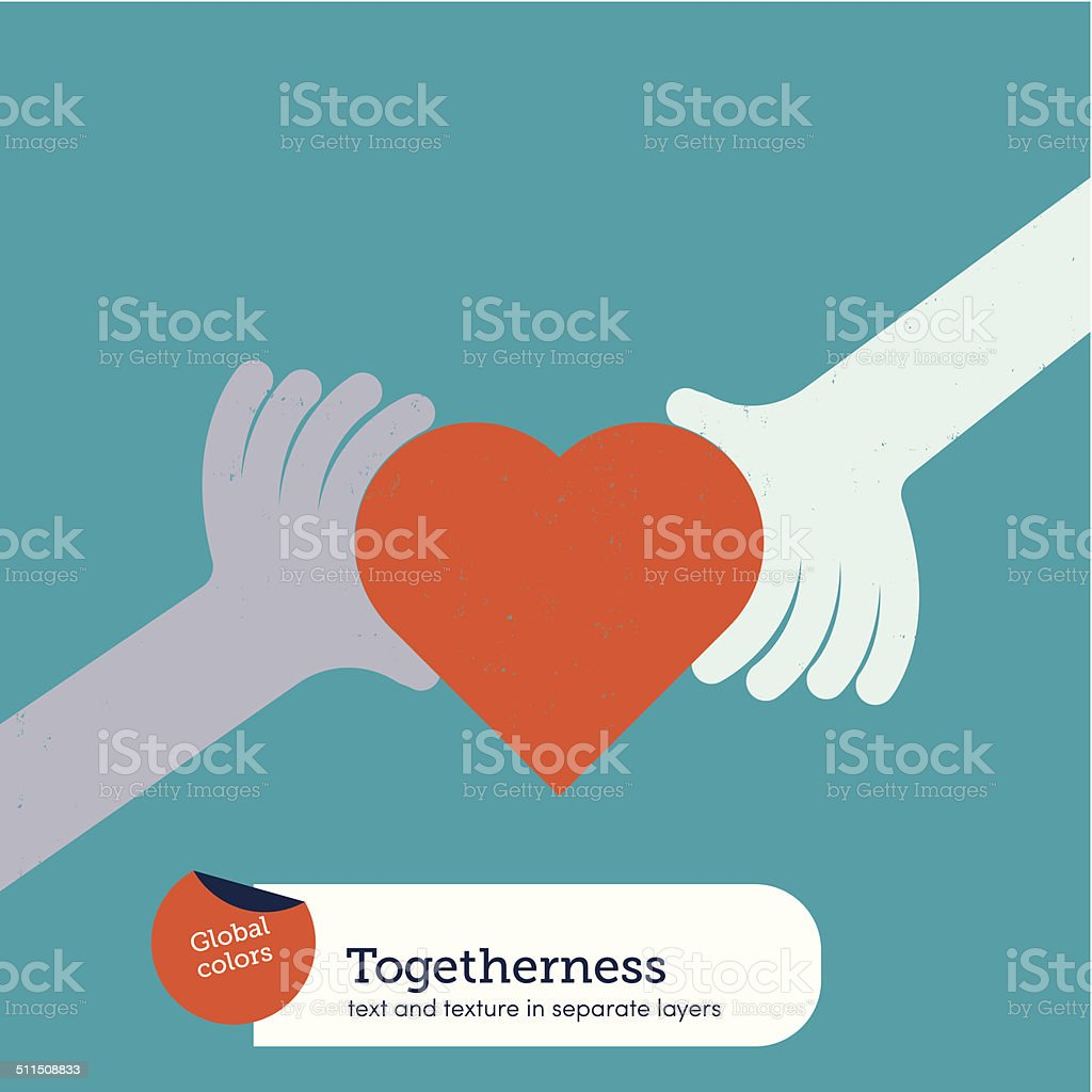 Hands holding a heart vector art illustration