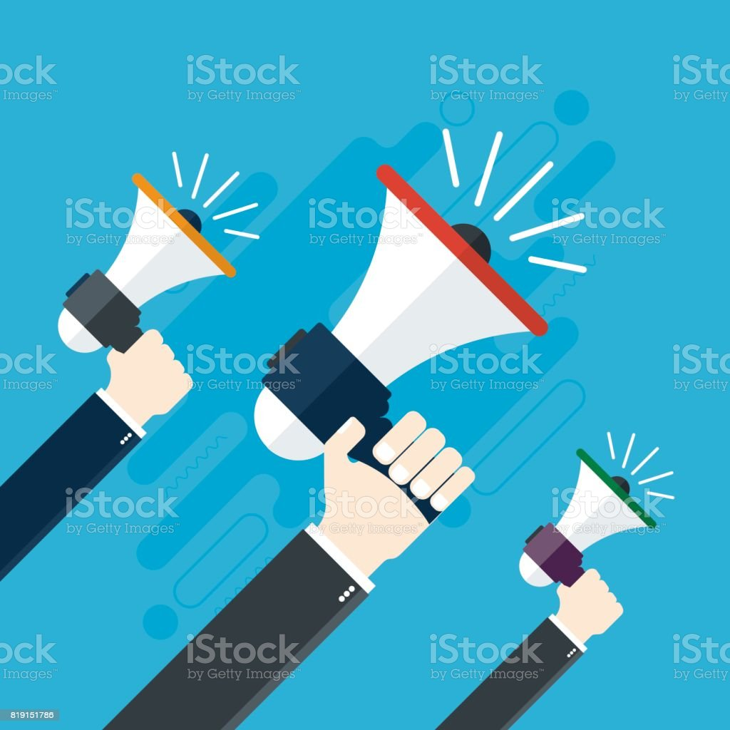 Hands holding a megaphones. vector art illustration
