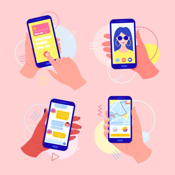 illustrazioni stock, clip art, cartoni animati e icone di tendenza di mani che tengono in mano un telefono cellulare con applicazioni sullo schermo: pagamento online con carta, videochiamata, chiamata in taxi, chat nel messenger. - smart phone