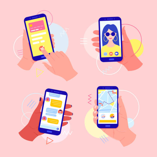 Hands holding a mobile phone with applications on the screen: online payment by card, video call, taxi call, chat in the messenger. Mobile payments. Video call concept. Finger touch the screen. iphone stock illustrations
