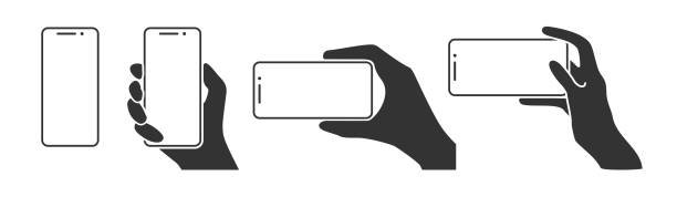 hands holding a phone in horizontal and vertical positions - hand holding phone stock illustrations