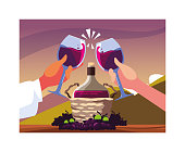 hands holding a wine glasses, label wine day vector illustration design