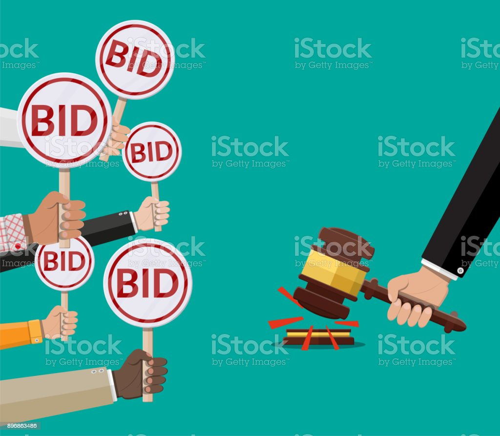 Hands holding auction paddle and hammer vector art illustration