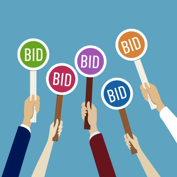 Hands holding auction paddle with bid Hands holding auction paddle with bid auction stock illustrations