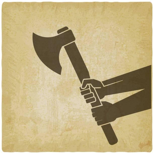 illustrations, cliparts, dessins animés et icônes de hache de fixation de mains sur le fond de cru - man axe wood