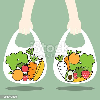 Hands holding bag containing full of fresh organic fruits and healthy natural vegetables.