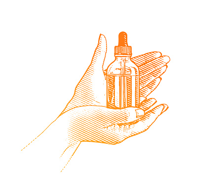 Hands holding CBD Oil bottle and pipette