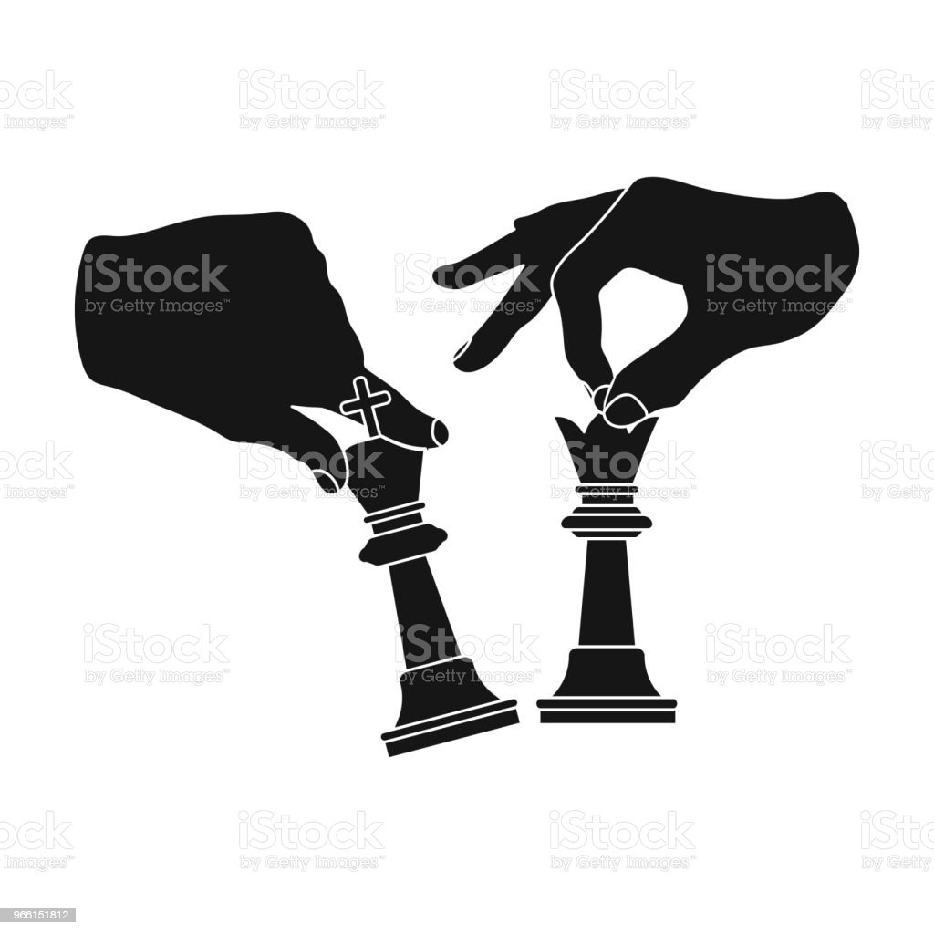 Hands holding chess pieces. Chess single icon in black style vector symbol stock illustration web. - Royalty-free Chess stock vector