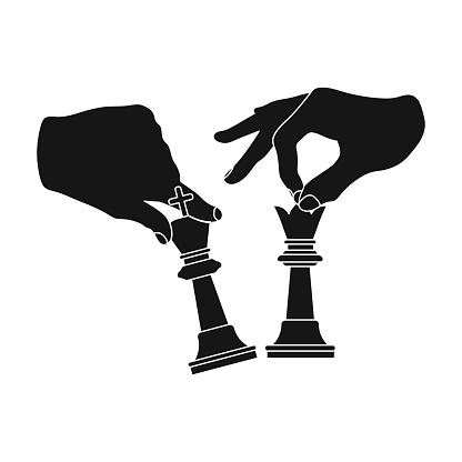 Hands Holding Chess Pieces Chess Single Icon In Black Style Vector Symbol Stock Illustration Web — стоковая векторная графика и другие изображения на тему Векторная графика
