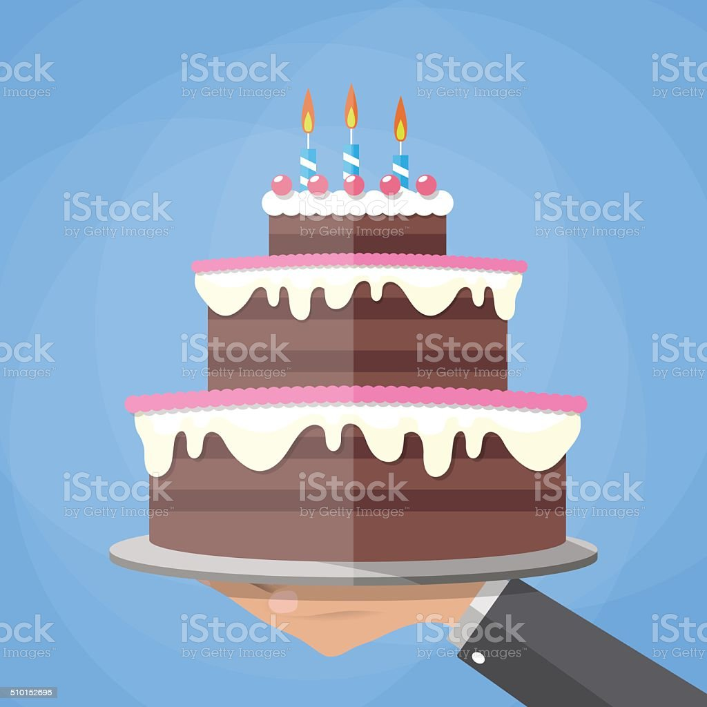 hands holding chocolate layer cake vector art illustration