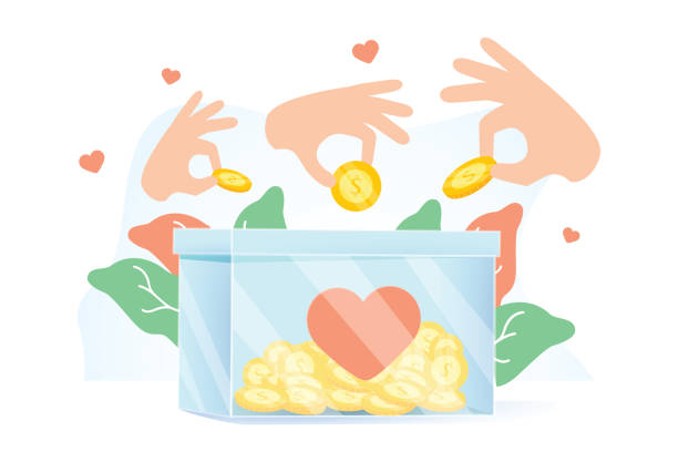 Hands holding coins and putting them into money box. Concept of charity project, donation service, fundraising program Hands holding coins and putting them into money box. Concept of charity project, donation service, fundraising program, nonprofit organization, financial endowment. Modern flat vector illustration. contributor stock illustrations