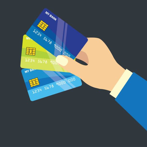 hands holding credit card for business concept. vector illustration - credit cards stock illustrations, clip art, cartoons, & icons