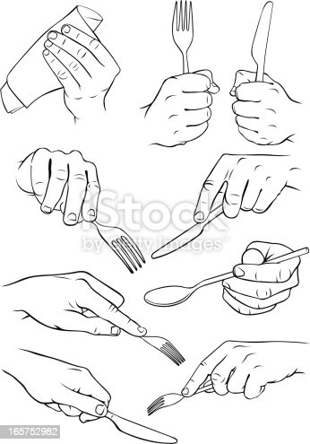 istock Hands holding cutlery and a serviette. 165752982