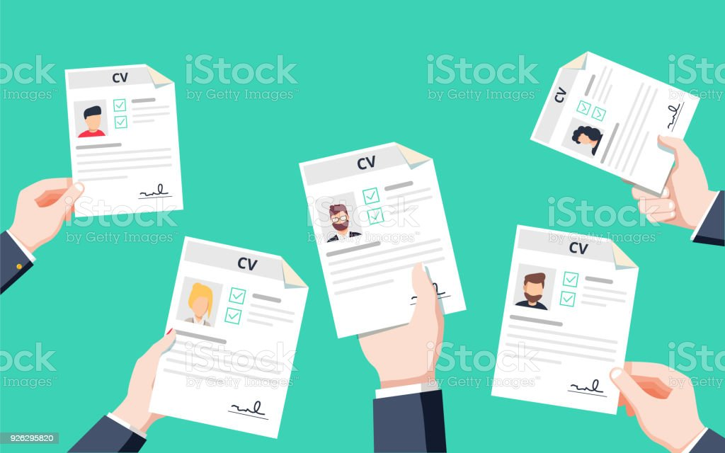Hands holding CV papers. Human resources management concept, searching professional staff vector art illustration