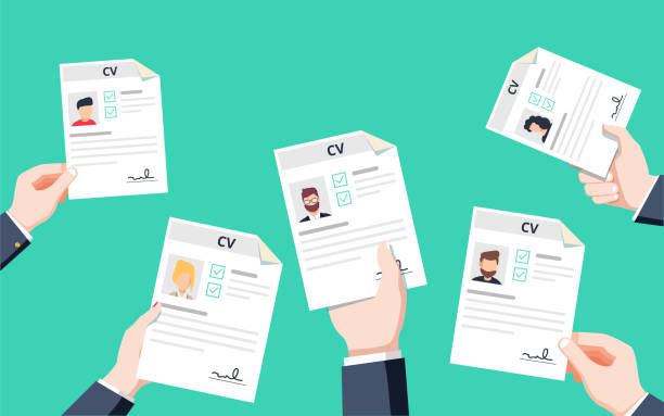 Hands holding CV papers. Human resources management concept, searching professional staff Hands holding CV papers. Human resources management concept, searching professional staff, analyzing resume papers, work. Flat vector illustration. Resume application for career position competition. candidate stock illustrations