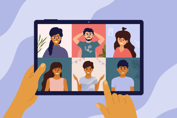 Hands holding digital tablet, video call of group of people – artystyczna grafika wektorowa