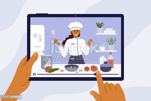 Culinary video broadcast, channel or blog with cooking online class. Young chef woman preparing healthy food in kitchen. Hands holding digital tablet with girl blogger on screen. Vector illustration.