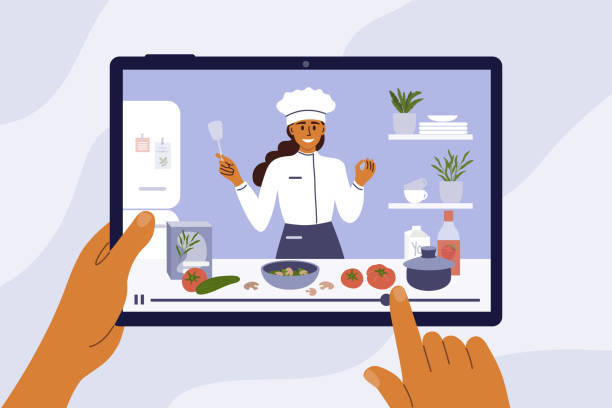 Hands holding digital tablet with young chef woman on screen preparing healthy food in kitchen Culinary video broadcast, channel or blog with cooking online class. Young chef woman preparing healthy food in kitchen. Hands holding digital tablet with girl blogger on screen. Vector illustration. cooking stock illustrations