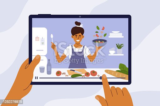 Culinary video broadcast, channel or blog with cooking online class. Young woman preparing healthy food in kitchen. Hand holding digital tablet with smiling girl blogger on screen. Vector illustration