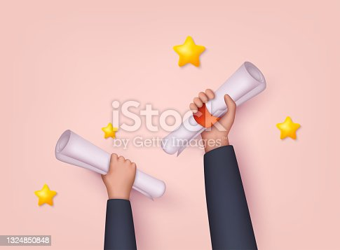 istock Hands holding diploma graduations. Receiving college or university diploma remotely. 3D Web Vector Illustrations. 1324850848