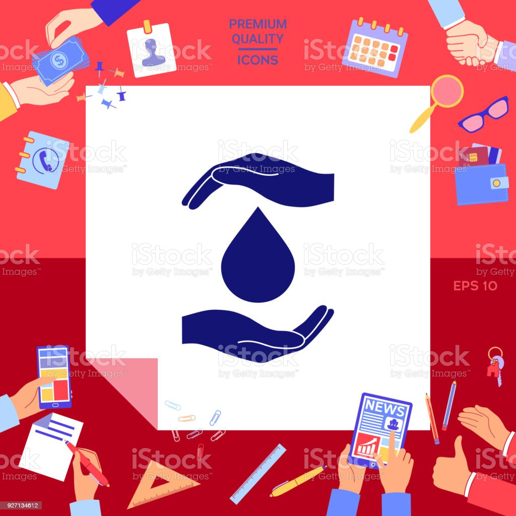 Hands holding drop - protection icon vector art illustration