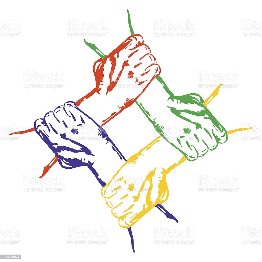 hands holding each other in unity  Multiracial royalty-free stock vector art