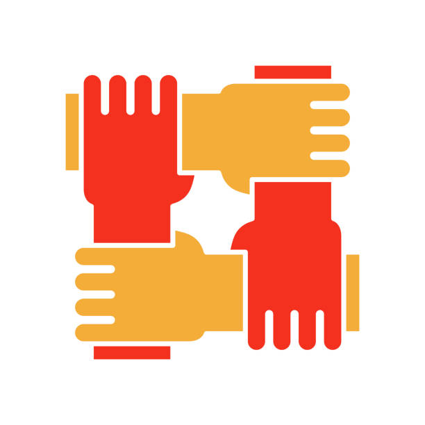 ilustrações de stock, clip art, desenhos animados e ícones de 4 hands holding eachother. vector flat glyph icon for concepts of racial equality, teamwork, community and charity. - unidade