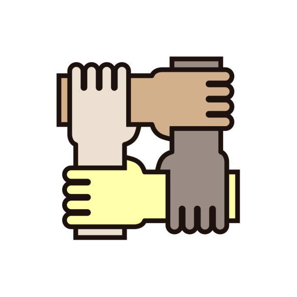 stockillustraties, clipart, cartoons en iconen met 4 handen met elkaar. vector pictogram voor concepten van rassengelijkheid, teamwork, gemeenschap en liefdadigheid. - etniciteit