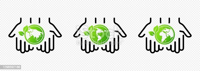Hands holding earth globe with leaves. Concept of saving the earth, nature