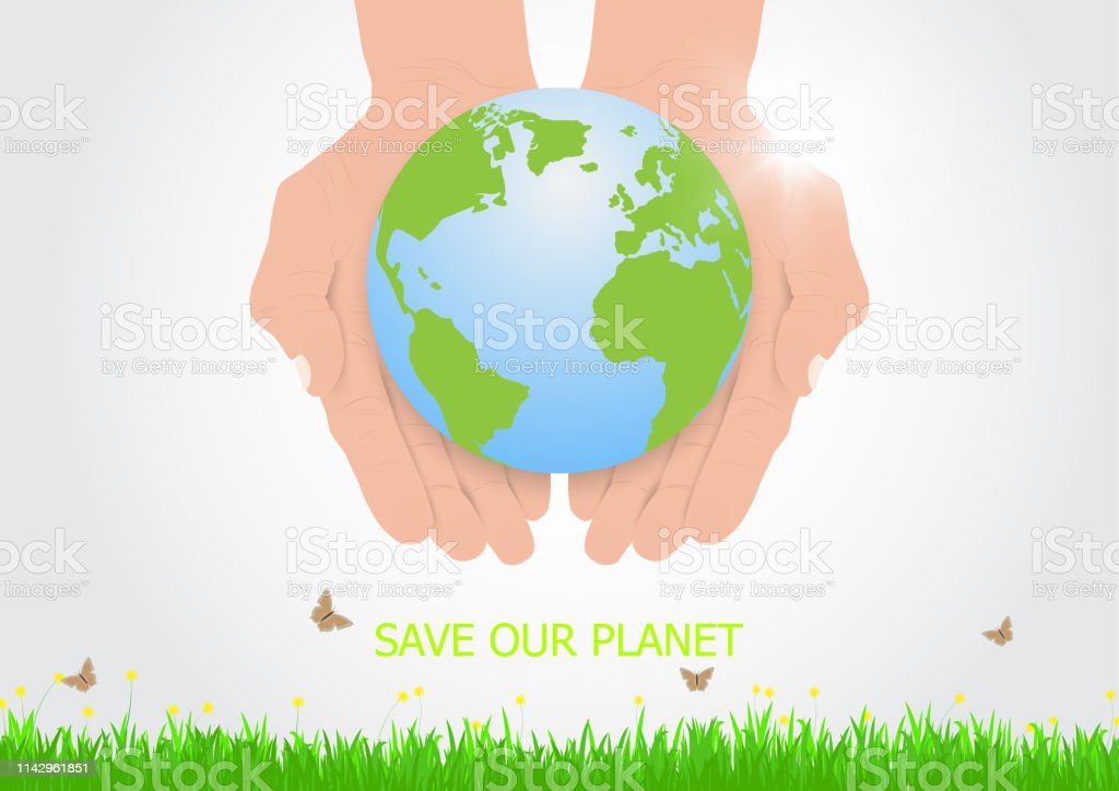 Hands holding earth with care, environmental concept vector...